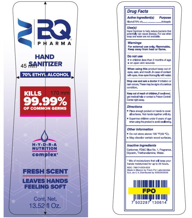 BQ PHARMA HAND SANITIZER 70 % ETHYL ALCOHOL 13.52 fl Oz.