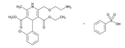The structural formula for amlodipine besylate is: