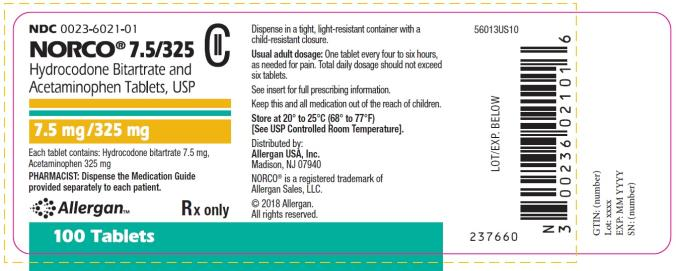 NDC: <a href=/NDC/0023-6021-01>0023-6021-01</a> NORCO® 7.5/325 Hydrocodone Bitartrate and Acetaminophen Tablets, USP 7.5 mg/325 mg 100 Tablets Rx only