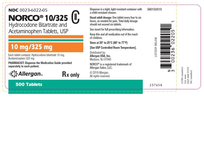 NDC: <a href=/NDC/0023-6022-05>0023-6022-05</a> NORCO® 10/325 Hydrocodone Bitartrate and Acetaminophen Tablets, USP 10 mg/325 mg 500 Tablets Rx only