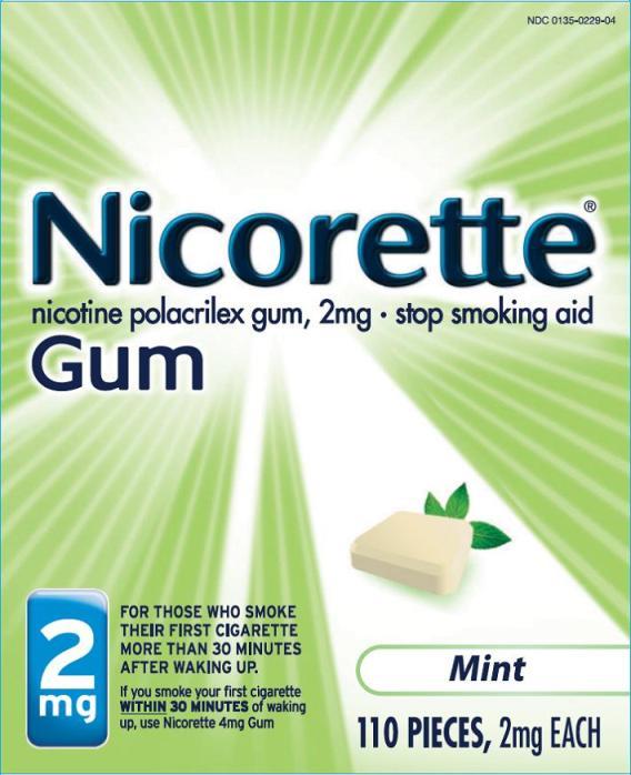 Nicorette Mint gum 2mg 110 count carton