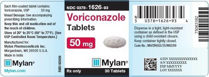 Voriconazole Tablets 50 mg Bottle Label