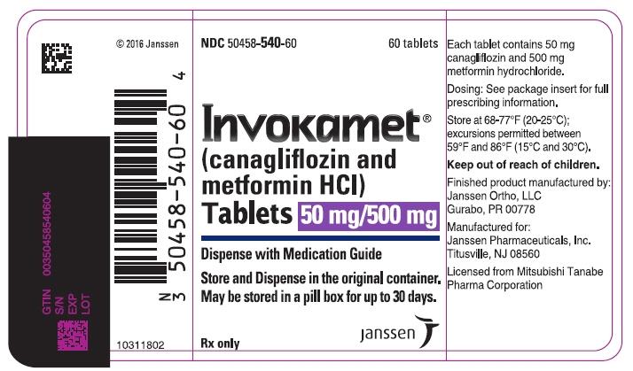 PRINCIPAL DISPLAY PANEL - 50 mg/500 mg Tablet Bottle Label - 540