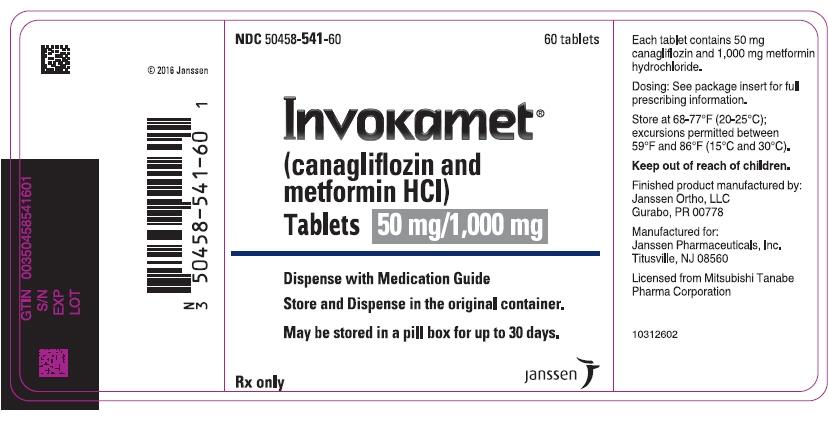 PRINCIPAL DISPLAY PANEL - 50 mg/1,000 mg Tablet Bottle Label - 541