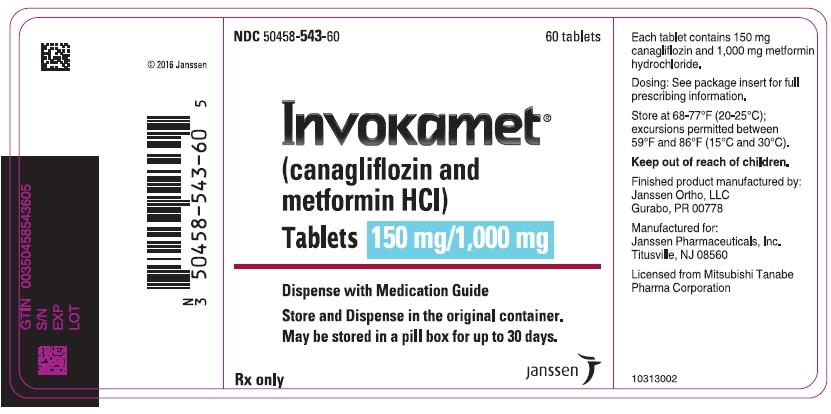 PRINCIPAL DISPLAY PANEL - 150 mg/1,000 mg Tablet Bottle Label - 543