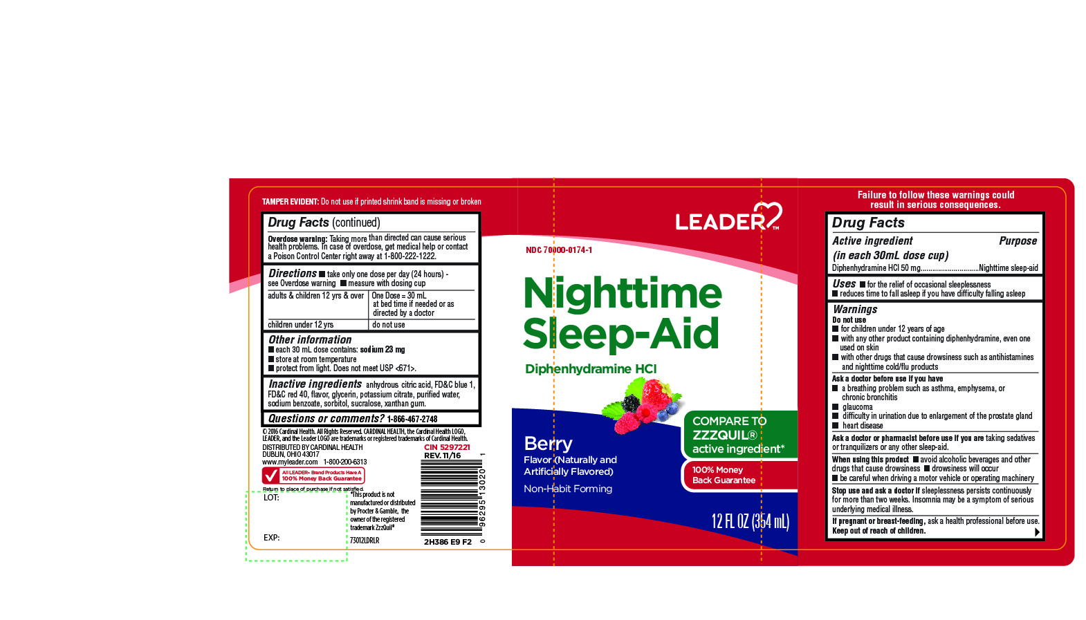Leader Nighttime Sleep Aid Berry Flavor 12FL OZ 354 mL