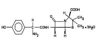 Structural formula for amoxicillin