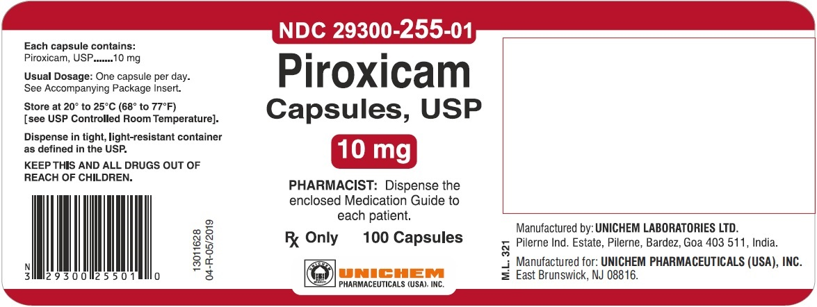 Piroxicam Capsules USP, 10 mg - Label