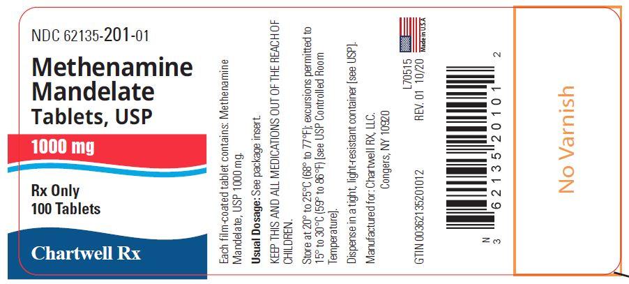 Methenamine Mandelate Tablets, USP 1000 mg - NDC: <a href=/NDC/62135-201-01>62135-201-01</a> - 100 Tablets Label