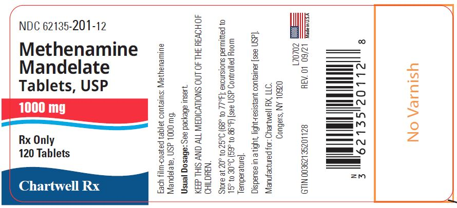 Methenamine Mandelate Tablets, USP 1000 mg - NDC: <a href=/NDC/62135-201-12>62135-201-12</a> - 120 Tablets Label