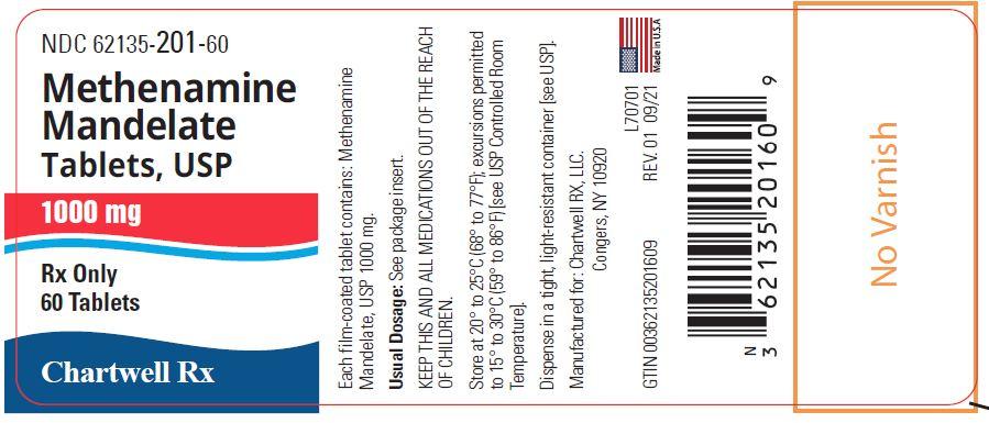 Methenamine Mandelate Tablets, USP 1000 mg - NDC: <a href=/NDC/62135-201-60>62135-201-60</a> - 60 Tablets Label