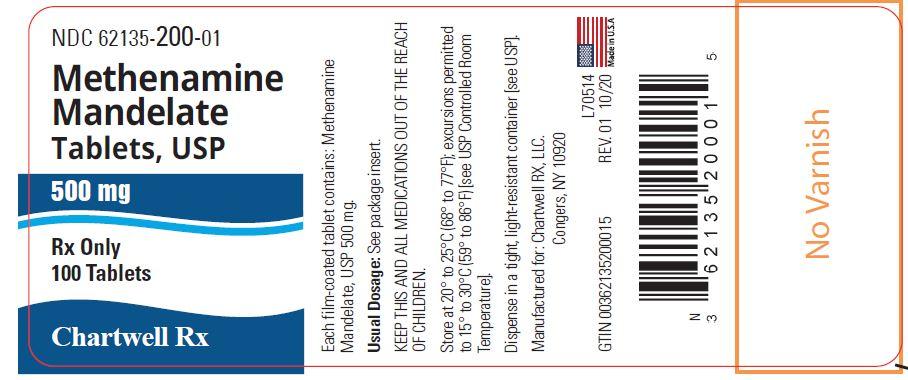 Methenamine Mandelate Tablets, USP 500 mg - NDC: <a href=/NDC/62135-200-01>62135-200-01</a> - 100 Tablets Label