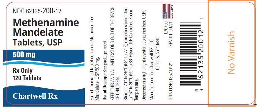 Methenamine Mandelate Tablets, USP 500 mg - NDC: <a href=/NDC/62135-200-12>62135-200-12</a> - 120 Tablets Label