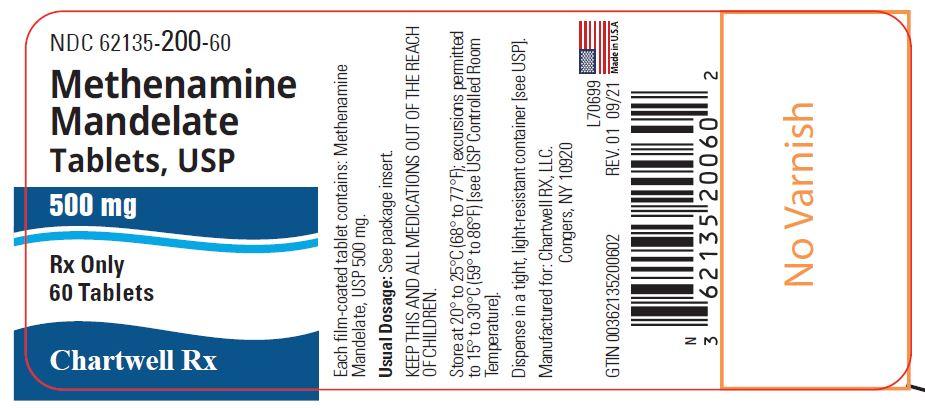 Methenamine Mandelate Tablets, USP 500 mg - NDC: <a href=/NDC/62135-200-60>62135-200-60</a> - 60 Tablets Label