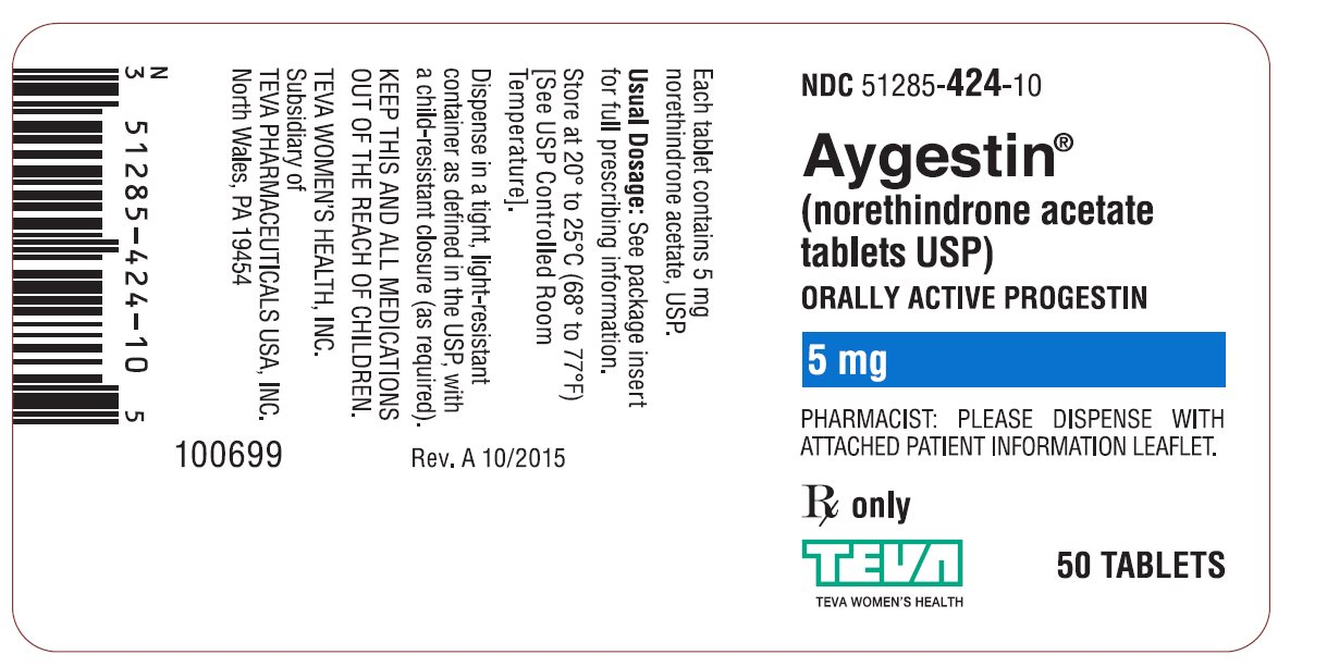Aygestin® (norethindrone acetate tables USP) 5 mg 50s Label