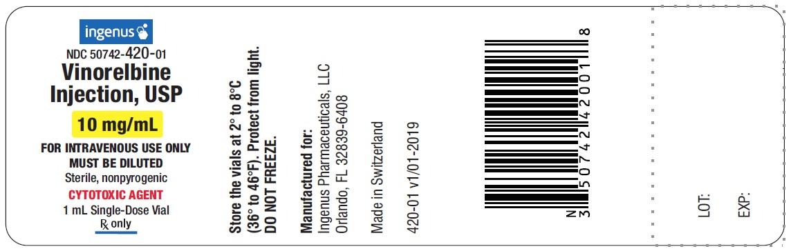 Vinorelbine Injection Vial Label - 10mg/mL