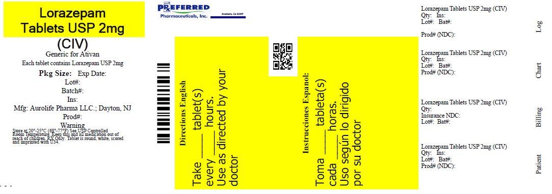 Lorazepam Tablets USP 2mg (CIV)
