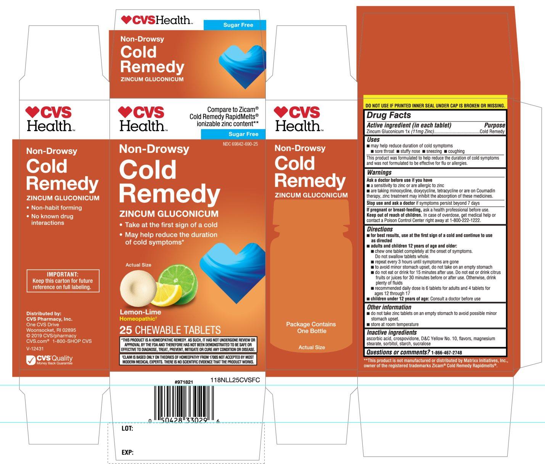 CVS Health Cold Remedy Lemon Flavor 25 Chewable Tablets
