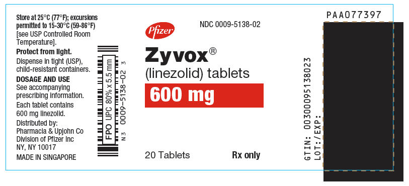PRINCIPAL DISPLAY PANEL - 600 mg Tablet Bottle Label - NDC: <a href=/NDC/0009-5138-02>0009-5138-02</a>