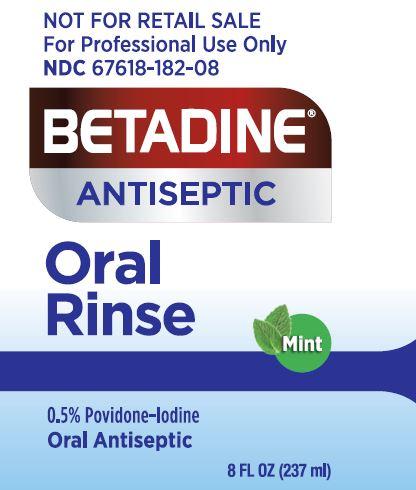 Betadine Oral Rinse label