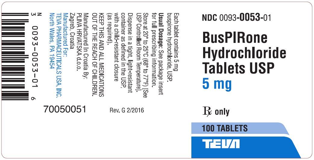 BusPIRone Hydrochloride Tablets USP, 5 mg 100s Label
