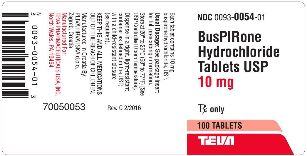 BusPIRone Hydrochloride Tablets USP, 10 mg 100s Label