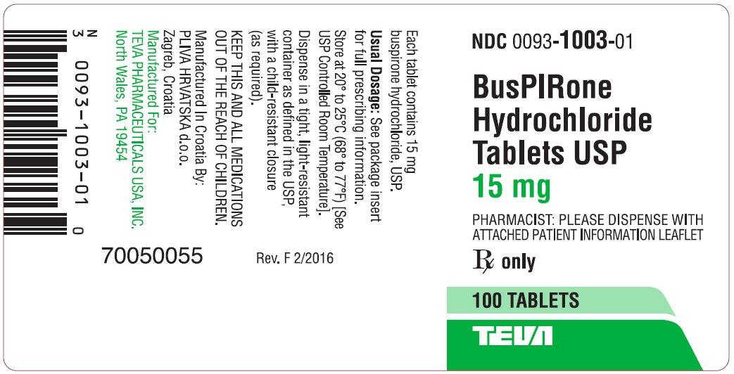 BusPIRone Hydrochloride Tablets USP, 15 mg 100s Label