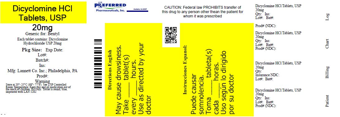 Dicyclomine HCl Tablets, USP 20mg