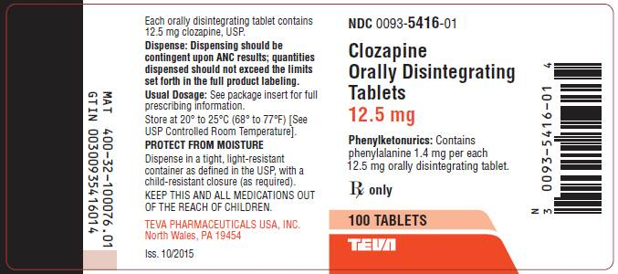 Clozapine Orally Disintegrating Tablets 12.5 mg, 100s Label