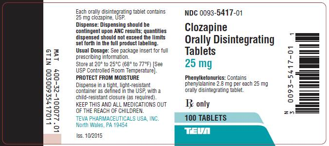 Clozapine Orally Disintegrating Tablets 25 mg, 100s Label