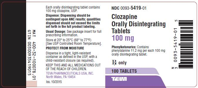 Clozapine Orally Disintegrating Tablets 100 mg, 100s Label