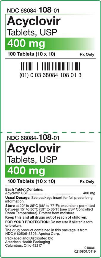 Acyclovir Tablets 400 mg Carton Label