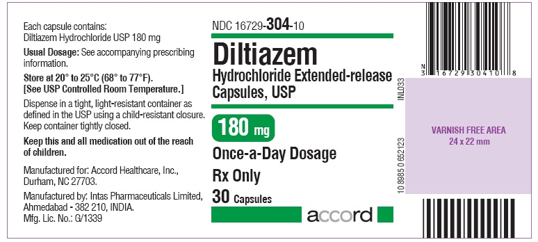 Diltiazem hydrochloride 180mg Capsule- Label