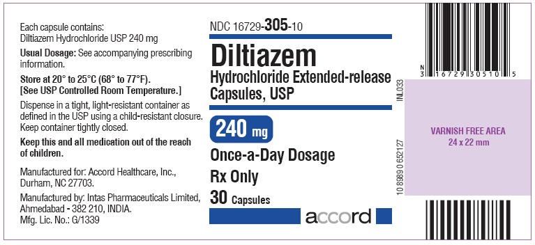 Diltiazem hydrochloride 240mg Capsule- Label