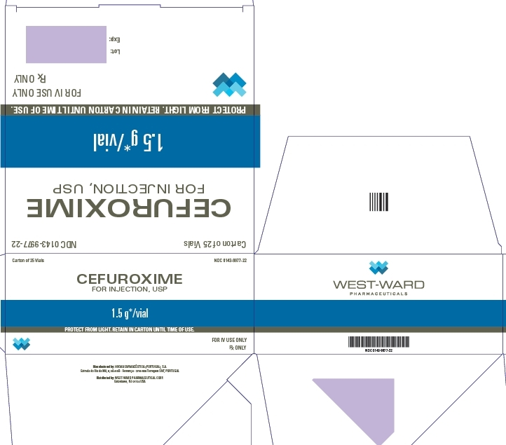 Carton of 25 Vials NDC: <a href=/NDC/0143-9977-22>0143-9977-22</a> CEFUROXIME FOR INJECTION, USP 1.5 g*/vial PROTECT FROM LIGHT. RETAIN IN CARTON UNTIL TIME OF USE. FOR IV USE ONLY Rx ONLY