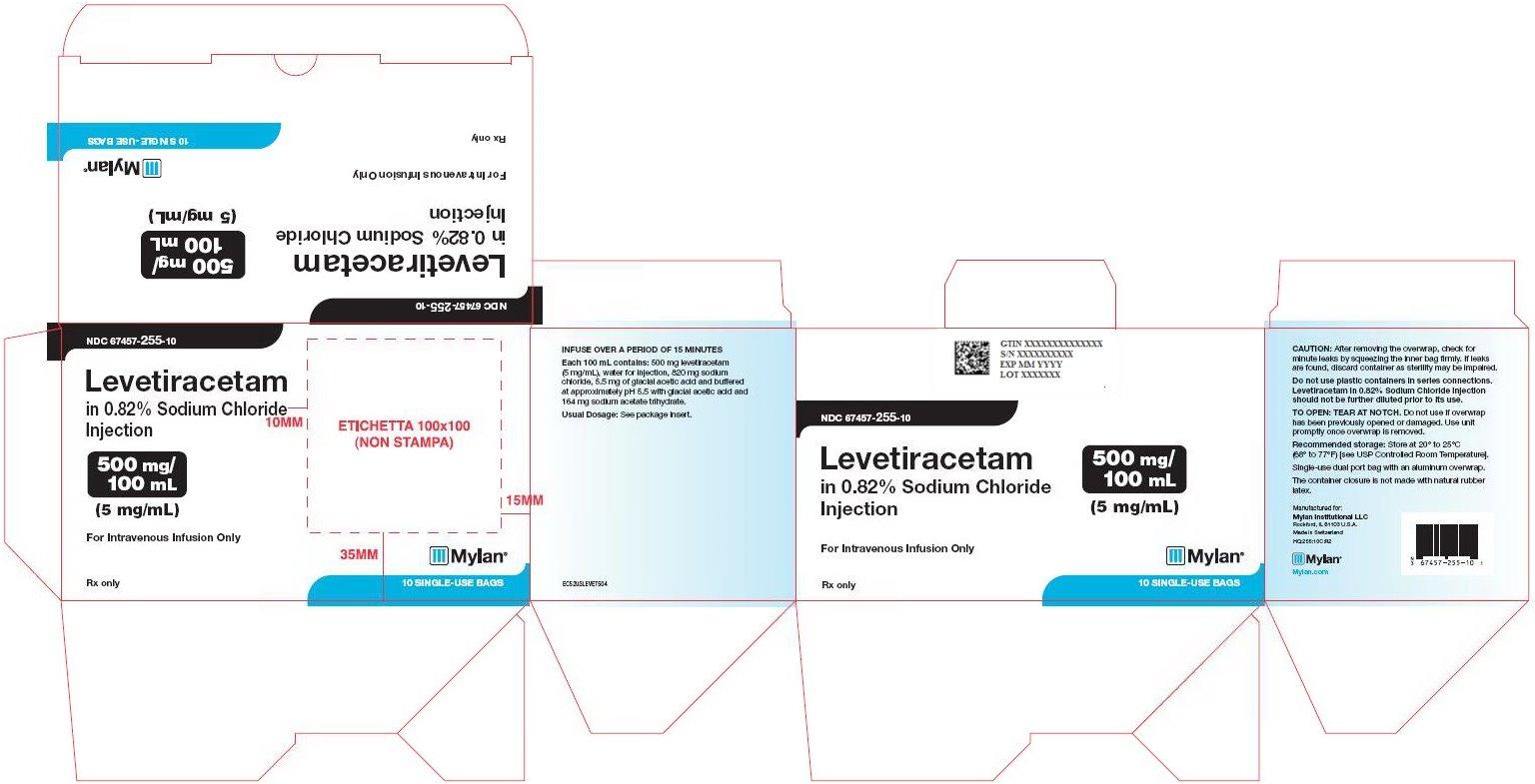 Levetiracetam Sodium Chloride Injection 500 mg/100 mL Carton Label
