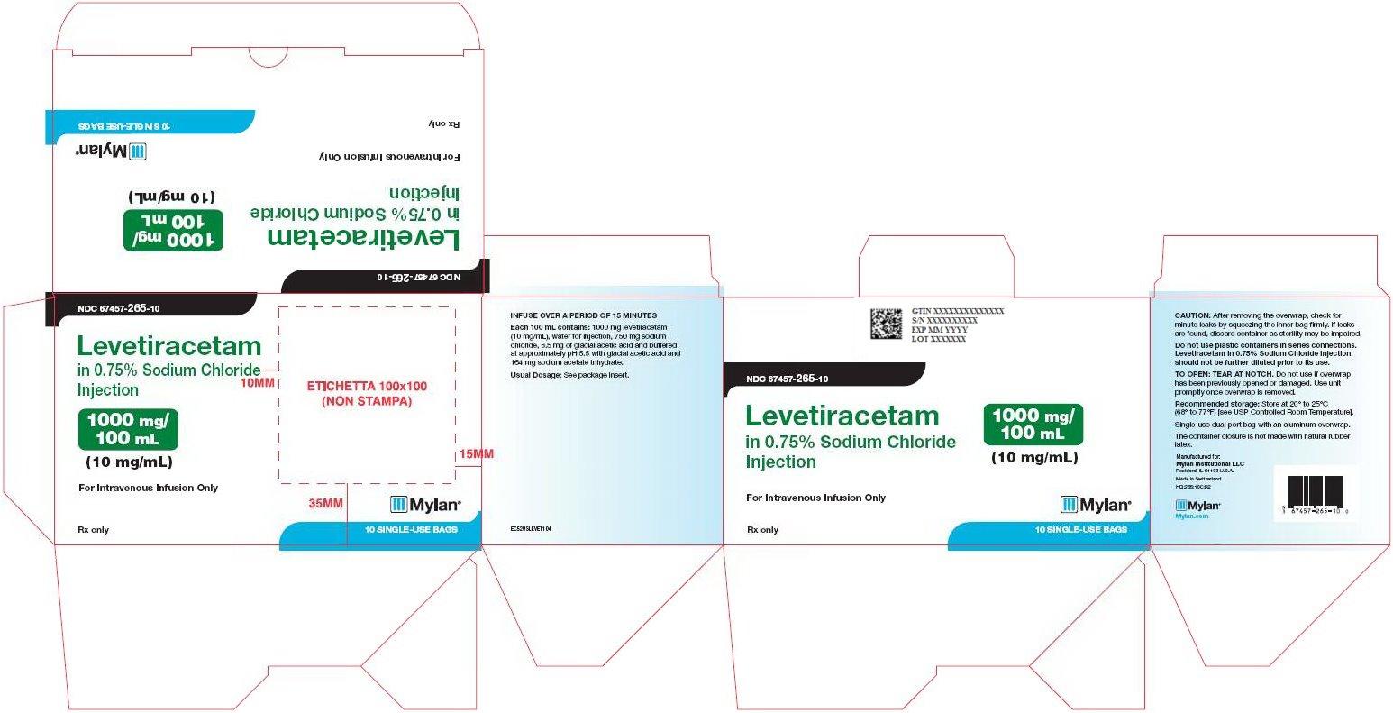 Levetiracetam Sodium Chloride Injection 1000 mg/100 mL Carton Label