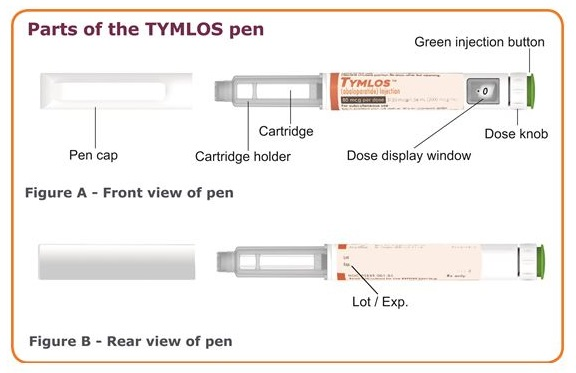 Parts of the TYMLOS pen