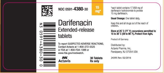 PRINCIPAL DISPLAY PANEL  NDC: <a href=/NDC/0591-4380-30>0591-4380-30</a> Darifenacin Extended – release tablets 15 mg 30 Tablets Rx Only