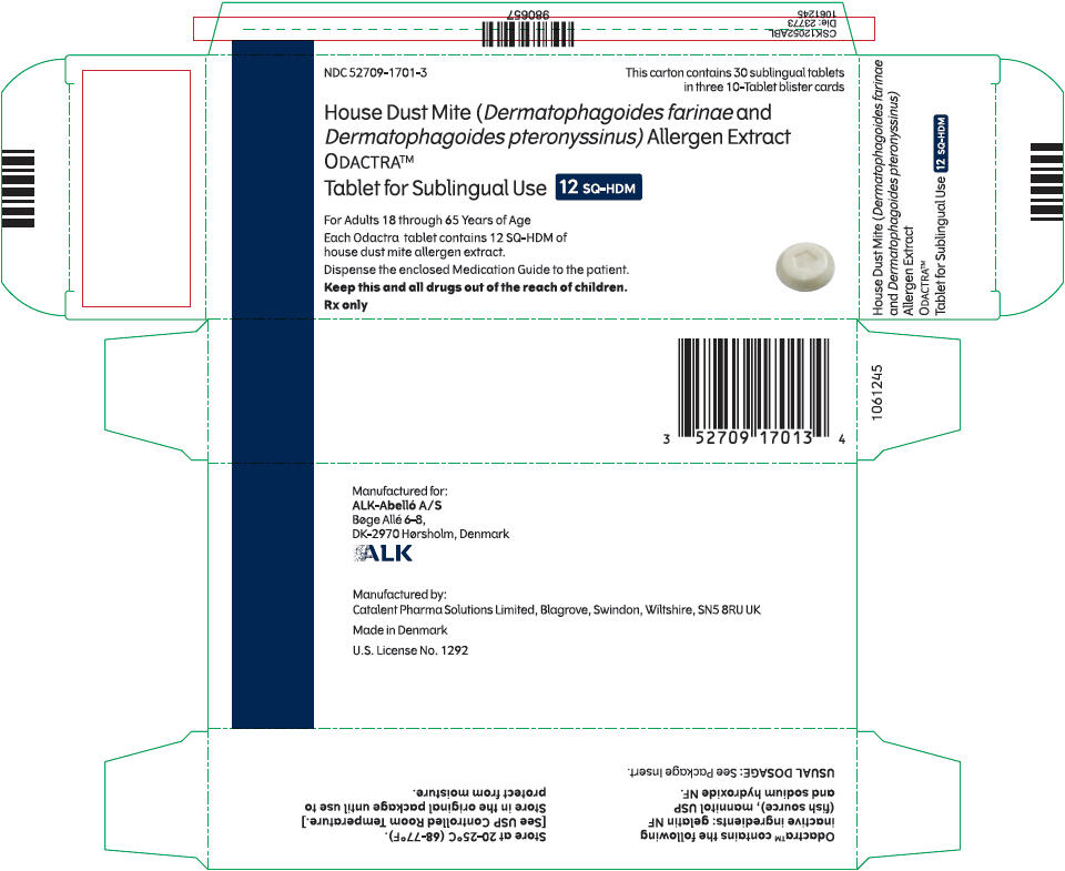 PRINCIPAL DISPLAY PANEL NDC: <a href=/NDC/52709-1701-3>52709-1701-3</a> House Dust Mite (Dermatophagoides farinae and  Dermatophagoides pteronyssinus) Allergen Extract ODACTRA™ Tablet for sublingual use 12SQ-HDM Rx Only