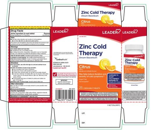 Leader Zinc Cold Therapy Citrus Flavor 25 Chewable Tablets