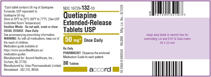 Quetiapine extended-release tablets bottle label 30 tablets