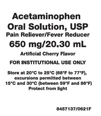 650 mg per 20.30 mL Acetaminophen Oral Solution Label