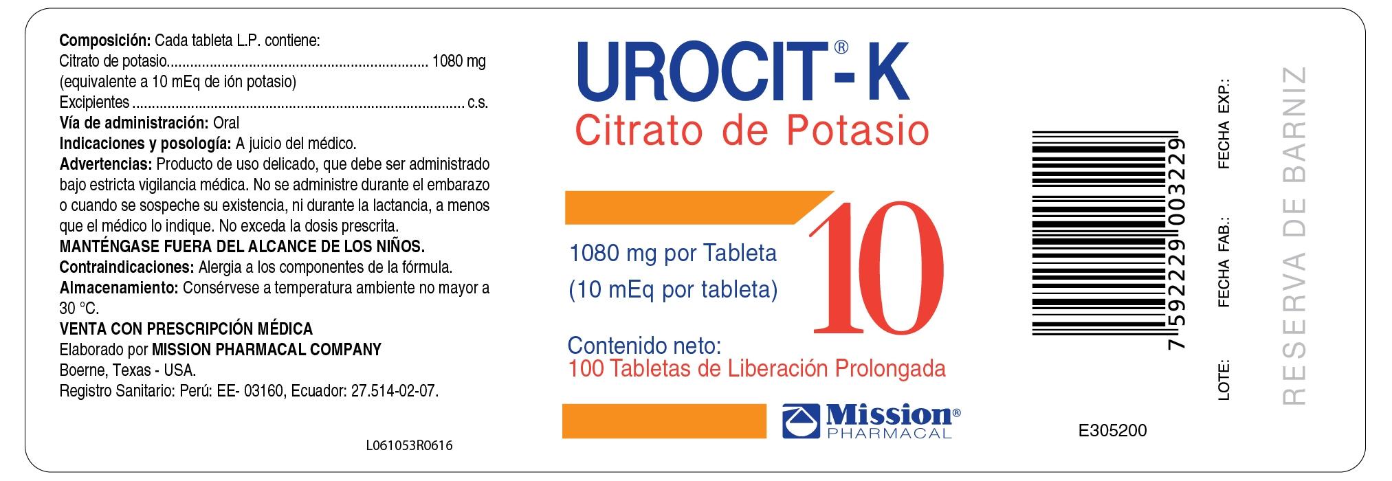 Urocit-K 10 mEq Peru