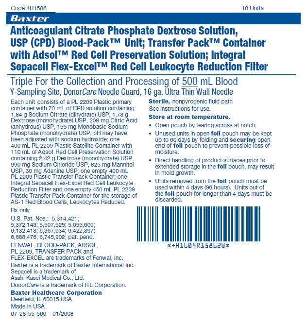 Anticoagulant Citrate Phosphate Dextrose Solution, USP (CPD) Blood-Pack™ Unit; Transfer Pack™ Container with Adsol™ Red Cell Preservation Solution; Integral Sepacell Flex-Excel™ Red Cell Leukocyte Reduction Filter label