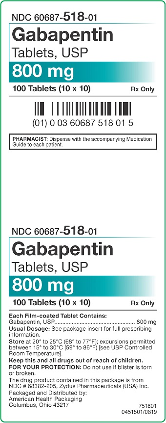 800 mg Gabapentin Tablets Carton