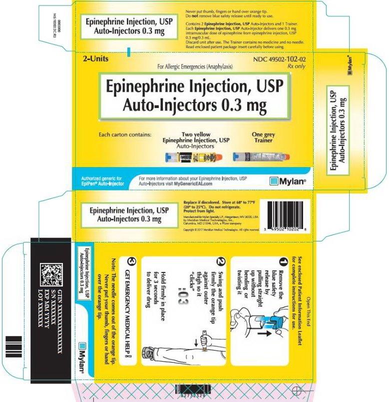 Epinephrine Injection 0.3 mg Carton Label