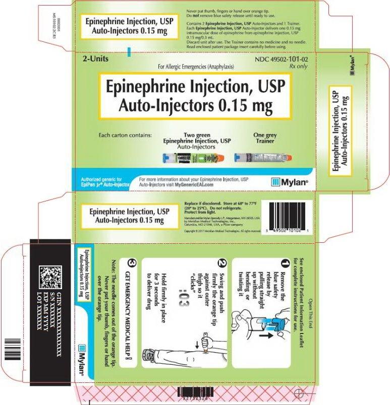 Epinephrine Injection 0.15 mg Carton Label