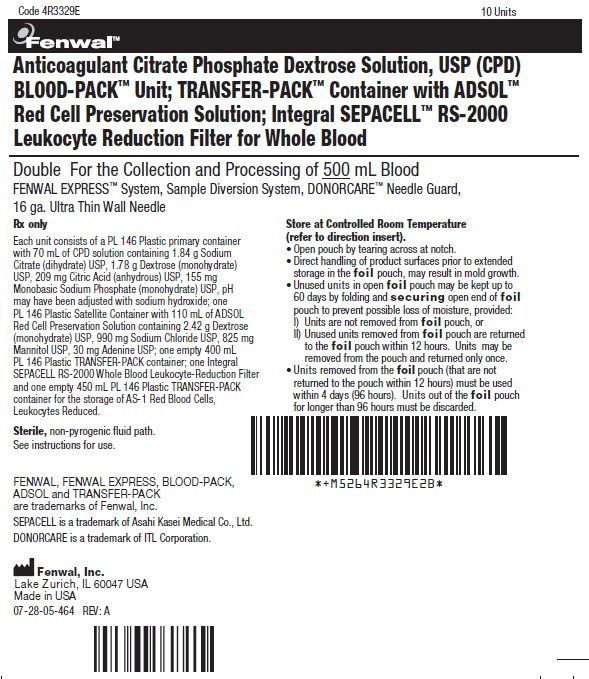 Anticoagulant Citrate Phosphate Dextrose Solution, USP (CPD) BLOOD-PACK™ Unit; TRANSFER-PACK™ Container with ADSOL™ Red Cell Preservation Solution; Integral SEPACELL™ RS-2000 Leukocyte Reduction Filter for Whole Blood label