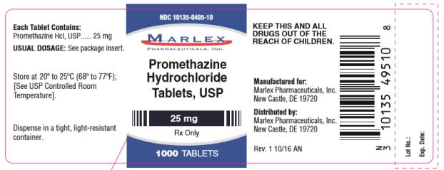 NDC: <a href=/NDC/10135-0495-1>10135-0495-1</a>0 Promethazine Hydrochloride Tablets, USP 25 mg Rx Only 1000 Capsules